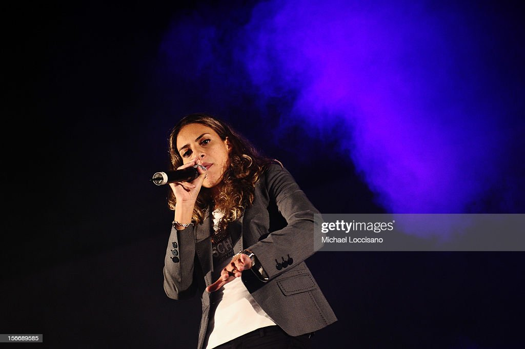 Farah Medhat performs at Arab Hip Hop Concert during the 2012 Doha Tribeca Film Festival at Katara Sony Open Air Cinema on November 18, 2012 in Doha, Qatar.
