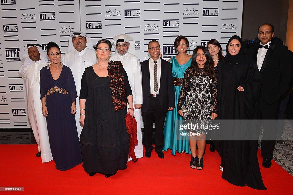 Faraj Daham, Shirin Neshat, Hafiz Ali Ali, Dr. Emad Amralla Sultan, Yasmina Khadra, Hend Sabry, Yesim Ustaoglu, Haifaa Al Mansour, Yesim Ustaoglu, Wedad Al Kawari and Ashutosh Gowariker attend the Awards Ceremony at the Al Rayyan Theatre during the 2012 Doha Tribeca Film Festival on November 22, 2012 in Doha, Qatar.