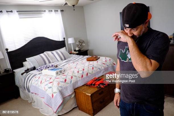 Faran Kaplan stands in his bedroom with the bed which was last made by his wife on the day she died on Wednesday September 27 2017 in Ashburn...