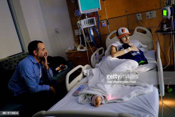 Faran Kaplan visits with his son Benjamin in the hospital on Wednesday September 27 2017 in Falls Church Virginia Faran has slept at his son's...