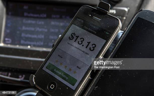 A fare summary on the Uber app in the car of UberX driver Sanjiv Kumar a former Washington Flyer driver April 9 in Washington DC Thousands of local...
