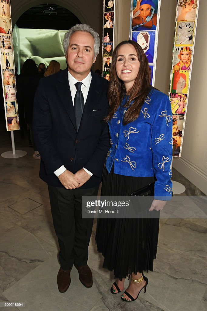 Fares Fares (L) and Tania Fares attend a private view of 'Vogue 100: A Century of Style' hosted by Alexandra Shulman and Leon Max at the National Portrait Gallery on February 9, 2016 in London, England.