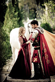 farewell between medieval knight and princess