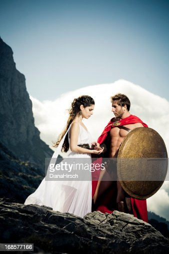 farewell between spartan queen and warrior