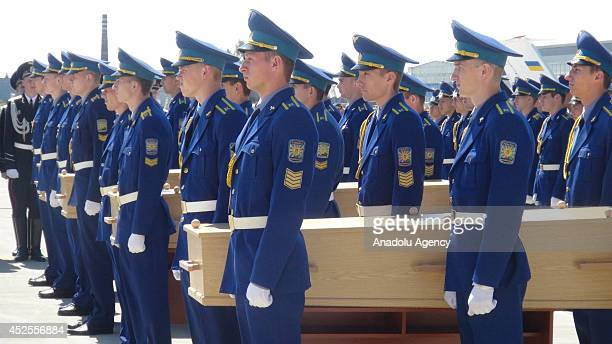 A farewell ceremony is held for 20 bodies of Malaysian Airlines Flight MH17 victims to be sent to Netherlands from Kharkov International Airport on...