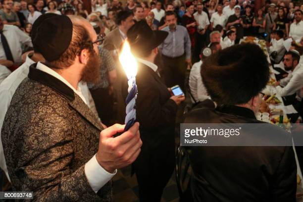 Farewell to Shabbat during Melave Malkah ceremony at the Tempel Synagogue in Kazimierz the Jewish Quarter of Krakow Poland on 24 June 2017 The event...