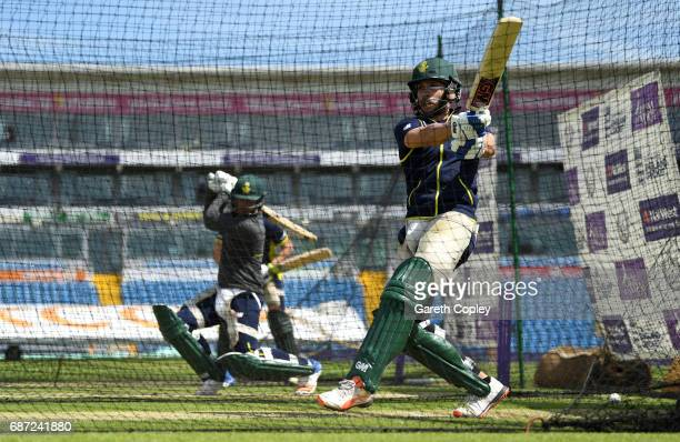 Farhaan Behardien of South Africa bats during a nets session at Headingley on May 23 2017 in Leeds England