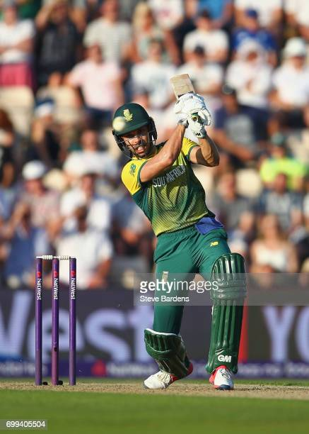 Farhaan Behardien of South Africa plays a shot during the 1st NatWest T20 International match between England and South Africa at Ageas Bowl on June...