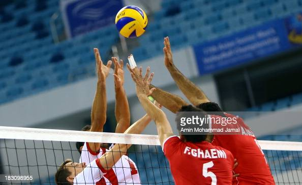 Farhad Ghaemi and Adel Gholami of Iran in Action during 17th Asian Men's Volleyball Championship between Iran And Lebanon on October 4 2013 in Dubai...