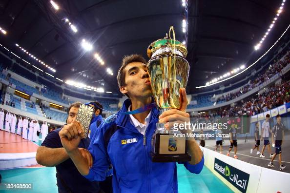 Farhad Ghaemi celebrates after wining during 17th Asian Men's Volleyball Championship between Iran And Korea on October 6 2013 in Dubai United Arab...