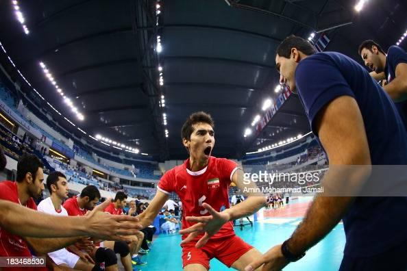 Farhad Ghaemi during 17th Asian Men's Volleyball Championship between Iran And Korea on October 6 2013 in Dubai United Arab Emirates