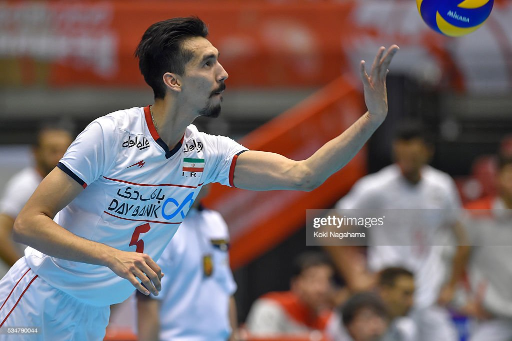 Farhad Ghaemi #5 of Iran serves the ball during the Men's World Olympic Qualification game between Iran and Australia at Tokyo Metropolitan Gymnasium on May 28, 2016 in Tokyo, Japan.