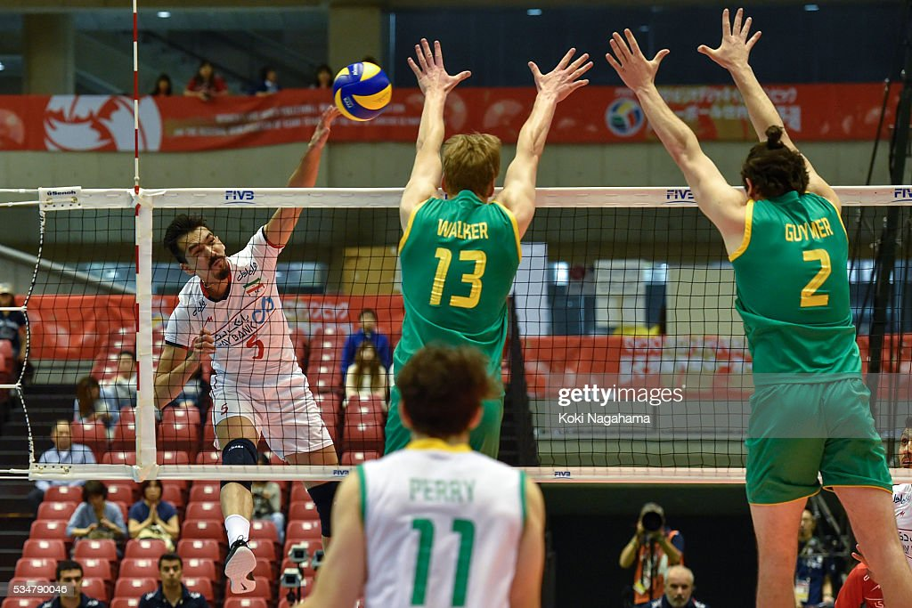 Farhad Ghaemi #5 of Iran spikes the ball during the Men's World Olympic Qualification game between Iran and Australia at Tokyo Metropolitan Gymnasium on May 28, 2016 in Tokyo, Japan.