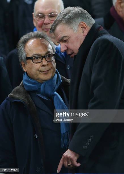 Farhad Moshiri and Sam Sam Allardyce watches the match from the stand during the Premier League match between Everton and West Ham United at Goodison...