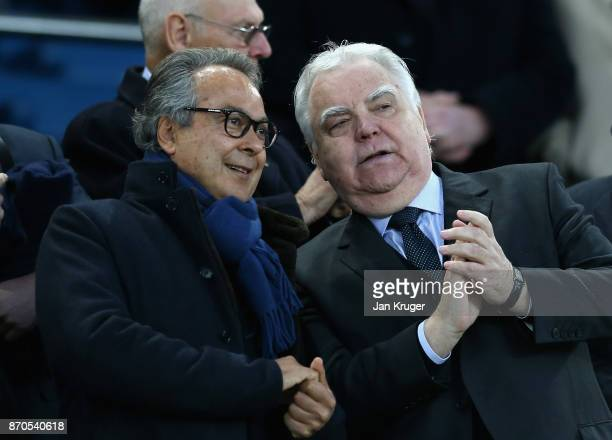 Farhad Moshiri Everton owner and Bill Kenwright Everton chairman are seen prior to the Premier League match between Everton and Watford at Goodison...