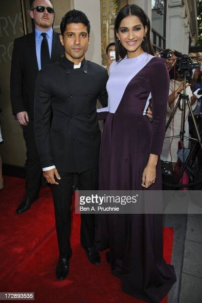 Farhan Akhtar and Sonam Kapoor attend the gala screening of 'Bhaag Milkha Bhaag' at The Mayfair Hotel on July 5 2013 in London England
