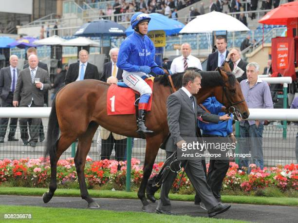 Farhh ridden by Frankie Dettori in the parade ring before being withdrawn after becoming unsettled in the stalls at the start of the Frank Whittle...