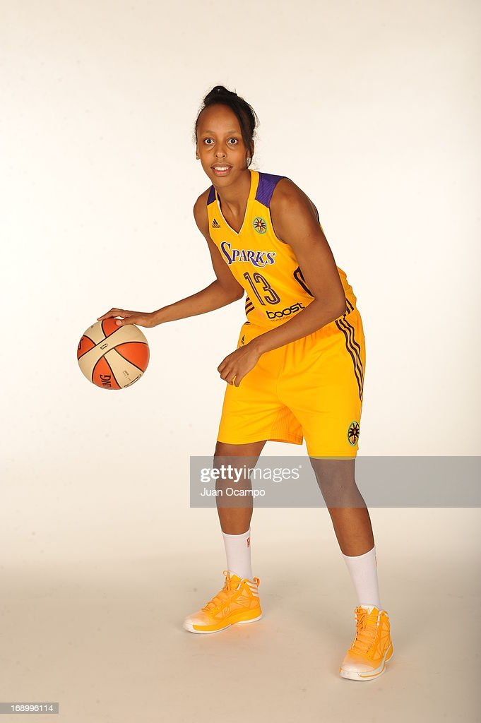 Farhiya Abdi #13 of the Los Angeles Sparks poses for a photo during the Los Angeles Sparks Media Day on May 17, 2013 at St. Mary's School in Inglewood, California.