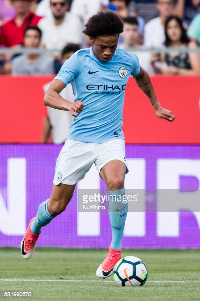19 Farid Boulaya from Argelia of Girona FC during the Costa Brava Trophy match between Girona FC and Manchester City at Estadi de Montilivi on August...