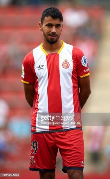 Farid Boulaya of Girona looks on prior to the preseason friendly match between Girona and Manchester City at Municipal de Montilivi Stadium on August...