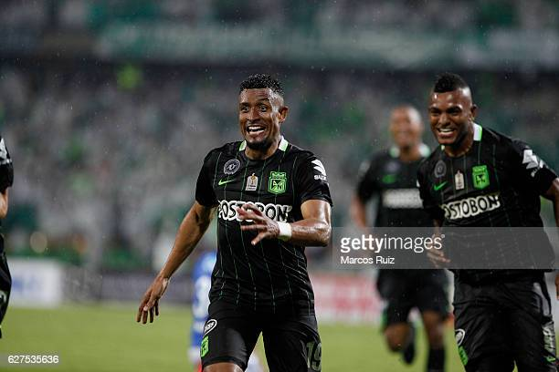Farid Diaz of Atletico Nacional celebrates after scoring the second goal of his team during a match between Millonarios and Atletico Nacional as part...