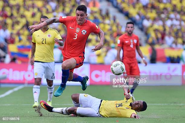 Farid Diaz of Colombia struggles for the ball with Enzo Roco of Chile during a match between Colombia and Chile as part of FIFA 2018 World Cup...