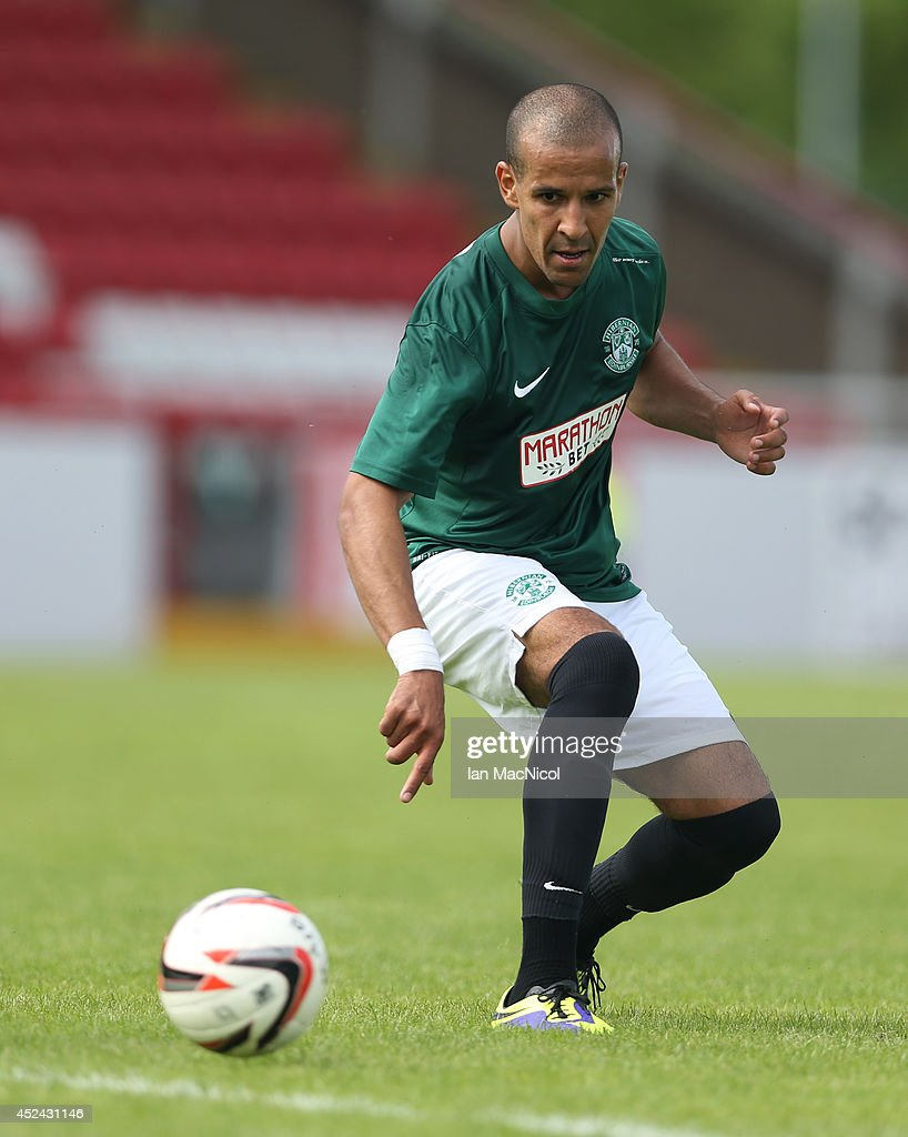 Farid El Alagui of Hibernian controls the ball during the Pre Season Friendly match between Stirling Albion and Hibernian at Forthbank Stadium on July 20, 2014 in Stirling, Scotland.