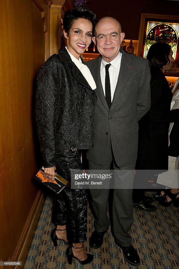 Farida Khelfa and Christian Lacroix attend the Roksanda Ten Year Anniversary Dinner at Caviar Kaspia on October 2 2015 in Paris France