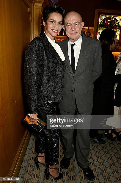 Farida Khelfa and Christian Lacroix attend the Roksanda Ten Year Anniversary Dinner at Caviar Kaspia on October 2 2015 in Paris France