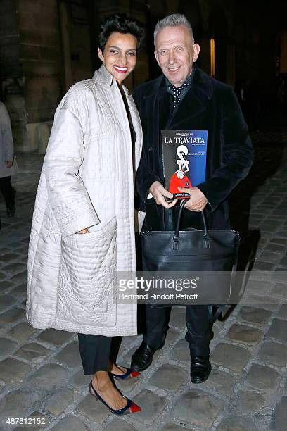 Farida Khelfa and Fashion Designer JeanPaul Gaultier attend 'La Traviata' Opera en Plein Air produced by Benjamin Patou 'Moma Group' Held at Hotel...