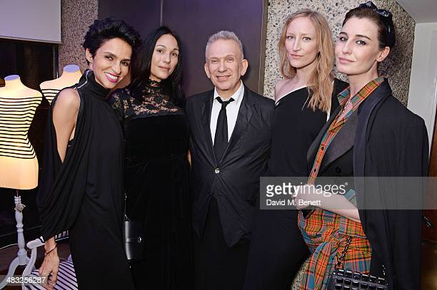 Farida Khelfa guest Jean Paul Gaultier Jade Parfitt and Erin O'Connor attend an exclusive reception for 'The Fashion World of Jean Paul Gaultier From...