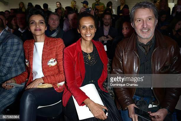 Farida Khelfa Karine Silla and Antoine de Caunes attend the JeanPaul Gaultier Haute Couture Spring Summer 2016 show as part of Paris Fashion Week on...