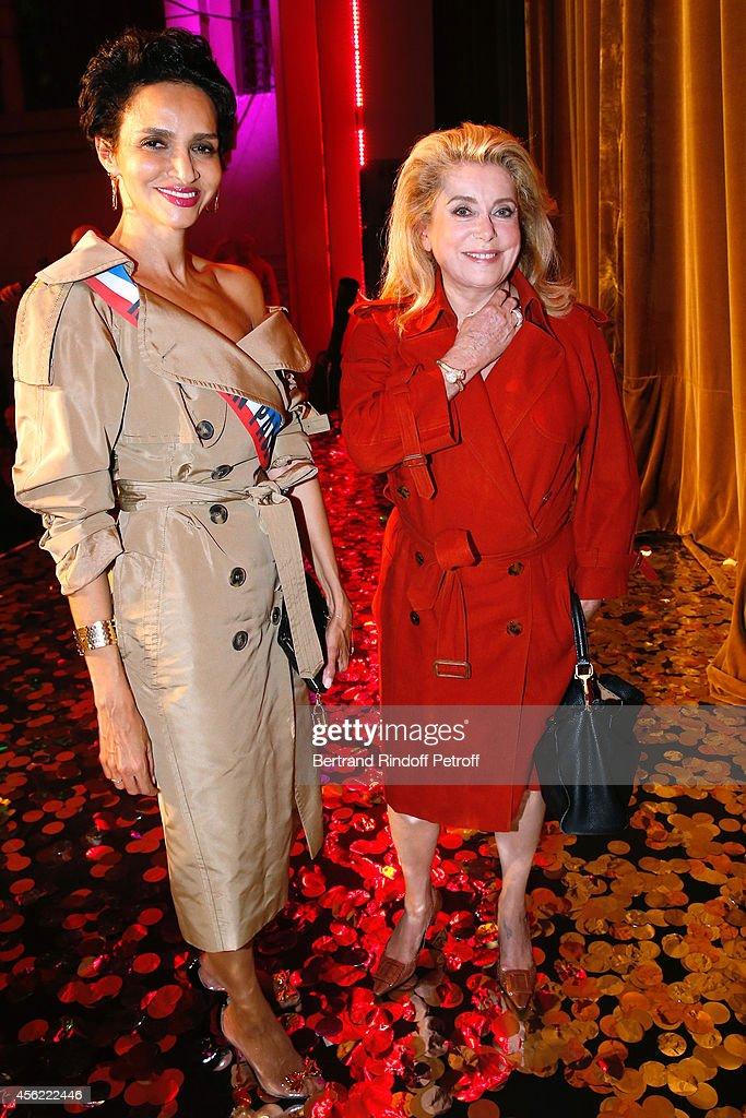 Farida Khelfa Seydoux and actress Catherine Deneuve attend the last Jean Paul Gaultier Womenswear show as part of the Paris Fashion Week Womenswear...