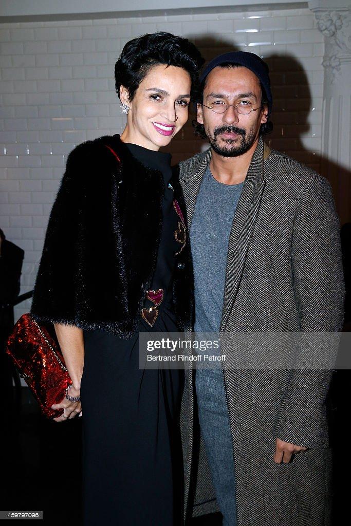 Farida Khelfa Seydoux and Fashion designer Haider Ackermann attend Maison Jean Paul Gaultier Hosts 'Le Projet ICCARRE Association' Against AIDS at...