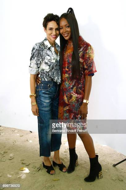 Farida Khelfa Seydoux and Naomi Campbell attend the Louis Vuitton Menswear Spring/Summer 2018 show as part of Paris Fashion Week on June 22 2017 in...
