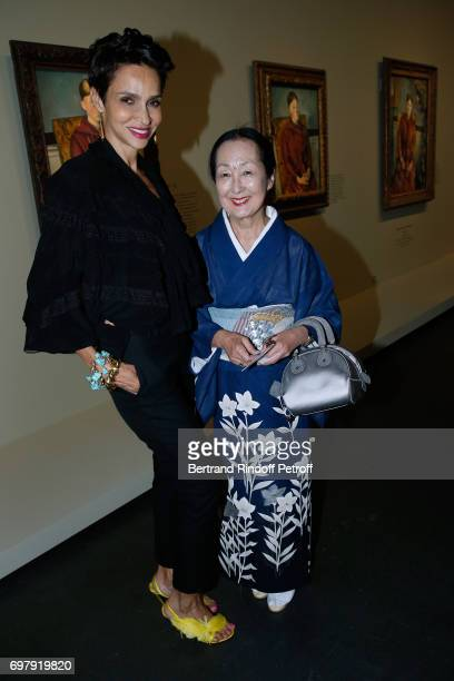 Farida Khelfa Seydoux and Setsuko Klossowska De Rola attend the 'Societe ses Amis du Musee d'Orsay' Dinner Party at Musee d'Orsay on June 19 2017 in...