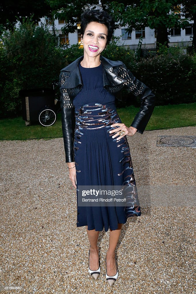 Farida Khelfa Seydoux attends the 'Chambre Syndicale de la Haute Couture' Cocktail to celebrate the end of the Paris Fashion Week Held at Hotel...