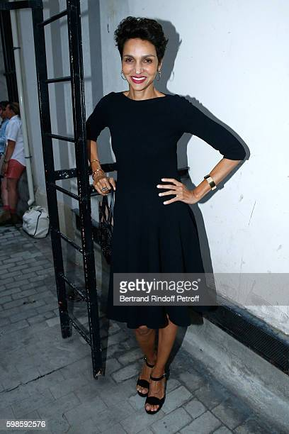 Farida Khelfa Seydoux attends the 'Claude Parent Dessiner La Mode' Exhibition at Galerie Azzedine Alaia on September 1 2016 in Paris France