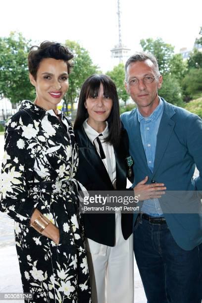Farida Khelfa Seydoux Bouchra Jarrar and Director of 'Palais Galliera Musee de la Mode de la Ville de Paris' Olivier Saillard attend Artistic...