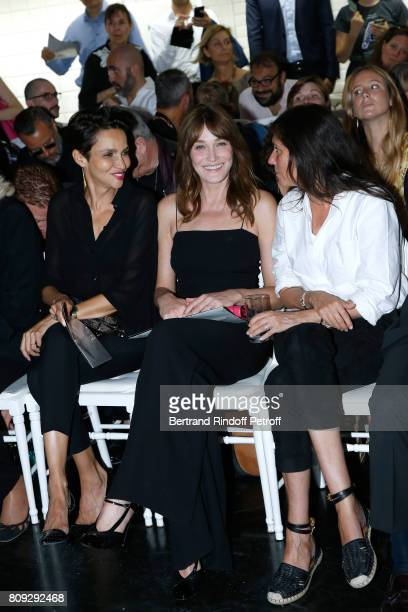 Farida Khelfa Seydoux Carla BruniSarkozy and Emmanuelle Alt attend the Jean Paul Gaultier Haute Couture Fall/Winter 20172018 show as part of Haute...