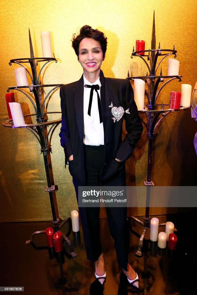 Farida Khelfa Seydoux poses after the Jean Paul Gaultier show as part of Paris Fashion Week Haute Couture Fall/Winter 20142015 Held at 325 Rue Saint...