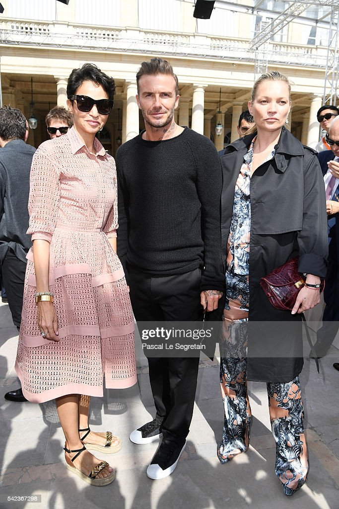 Farida Khelfa,David Beckham and Kate Moss attend the Louis Vuitton Menswear Spring/Summer 2017 show as part of Paris Fashion Week on June 23, 2016 in Paris, France.