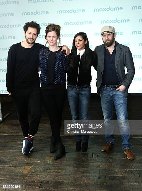 Farih Yardim Emily Cox Collien UlmenFernandes and Christian Ulmen the cast of the series attend the the photocall for the series 'Jerks' at Soho...