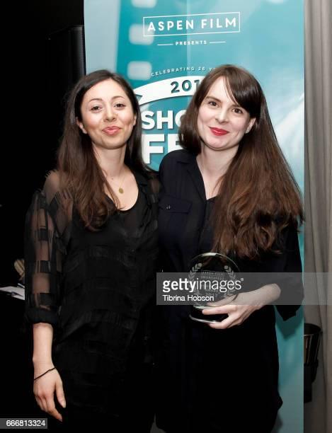 Farima Karimi and Maria Eriksson win the youth award at the 2017 Aspen Shortsfest Awards Dinner on April 9 2017 at Aspen Kitchen in Aspen Colorado