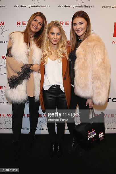 Farina Opoku Caro Daur and Stefanie Giesinger attend the REVIEW by Sami Slimani Capsule Collection launch party on March 31 2016 in Duesseldorf...