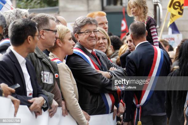 Farleft opposition 'France Insoumise' party's leader JeanLuc Melenchon attends a demonstration against the government's labour reforms on September...