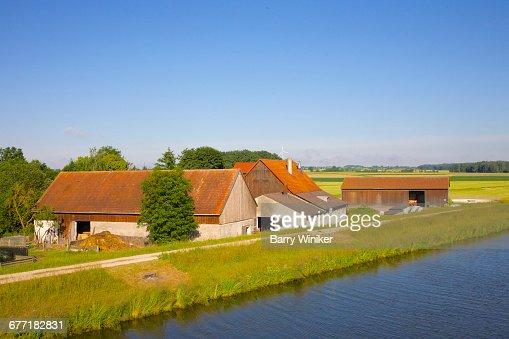 Farm adjoining Main River in Bavaria, Germany