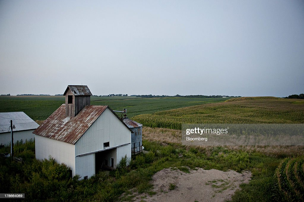 Farm buildings stand near a corn field outside of Manlius, Illinois, U.S., on Wednesday, Aug. 28, 2013. Wheat futures fell for a third straight day on signs of slack demand for inventories from the U.S., the worlds largest exporter, while soybeans dropped and corn gained. Photographer: Daniel Acker/Bloomberg via Getty Images