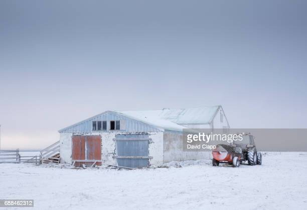 Farm builiding and tractor, Kopasker in Iceland