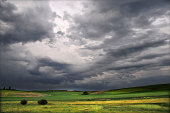 Farm country with stormy sky